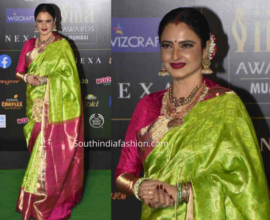 rekha green kanjeevaram saree iifa awards 2019 (2)