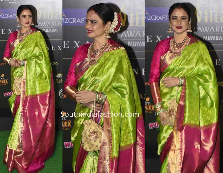 rekha green kanjeevaram saree iifa awards 2019