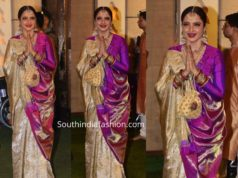 rekha kanjeevaram silk saree at ambani ganapati celebrations