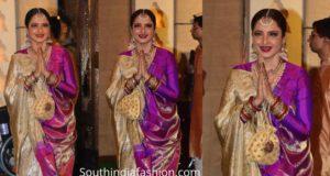 rekha kanjeevaram silk saree at ambani ganapati celebrations