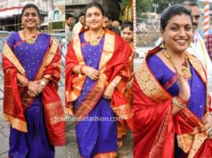 roja blue pattu saree tirumala temple