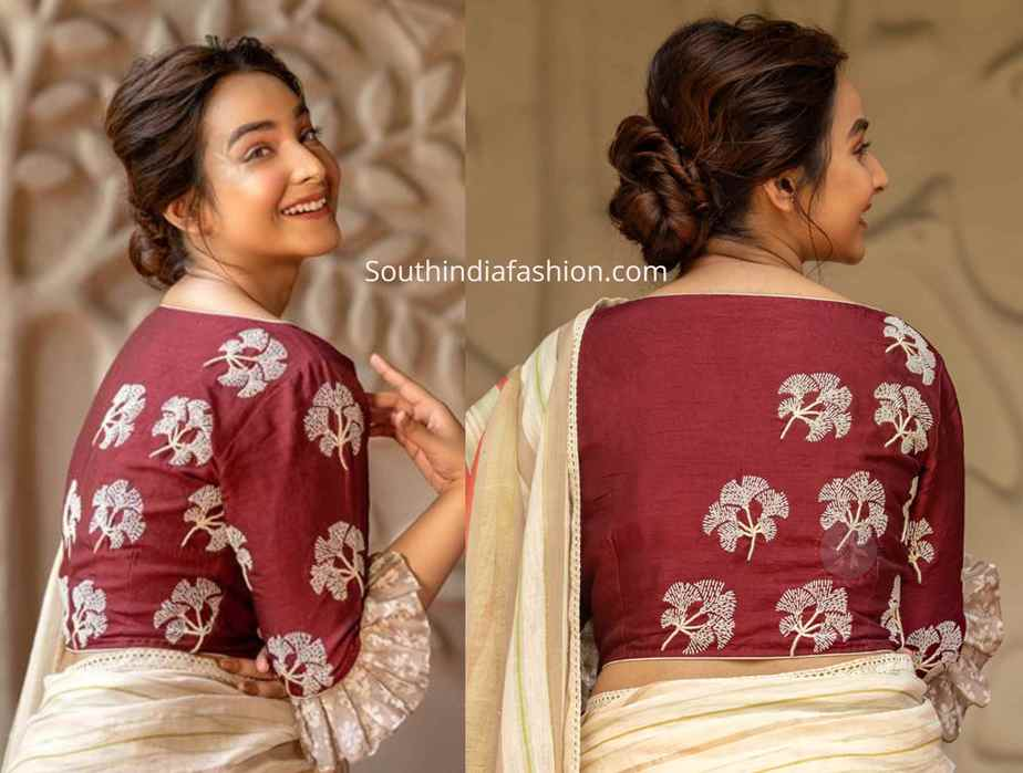 ruffle sleeves embroidered blouse designs 2019