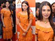 samantha orange dress at azent overseas education launch