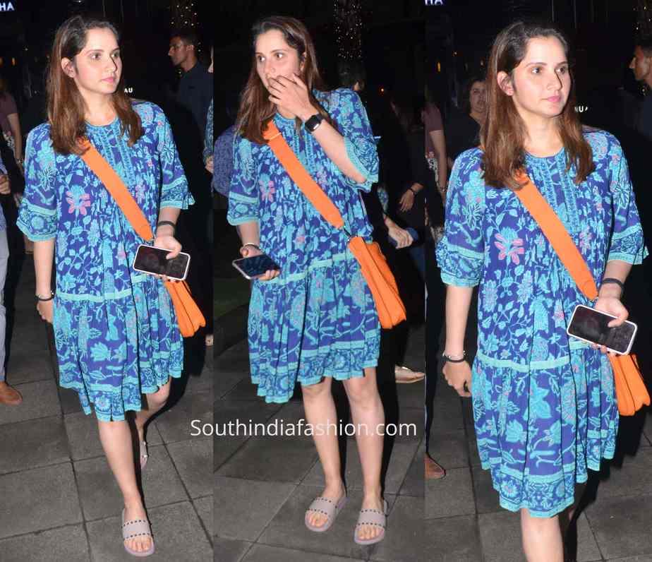 sania mirza blue printed dress