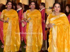 shabana azmi yellow saree ambani ganesh chaturthi