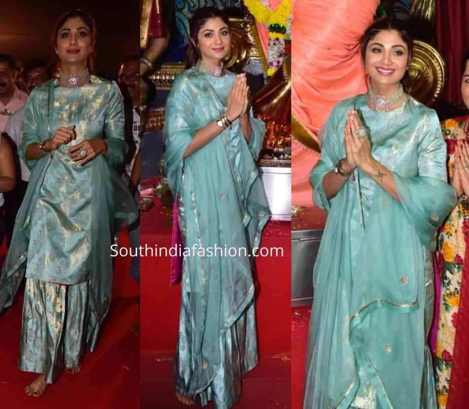 shilpa shetty blue brocade sharara ganapati darshan
