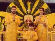 shilpa shetty yellow saree ganesh chaturthi (1)