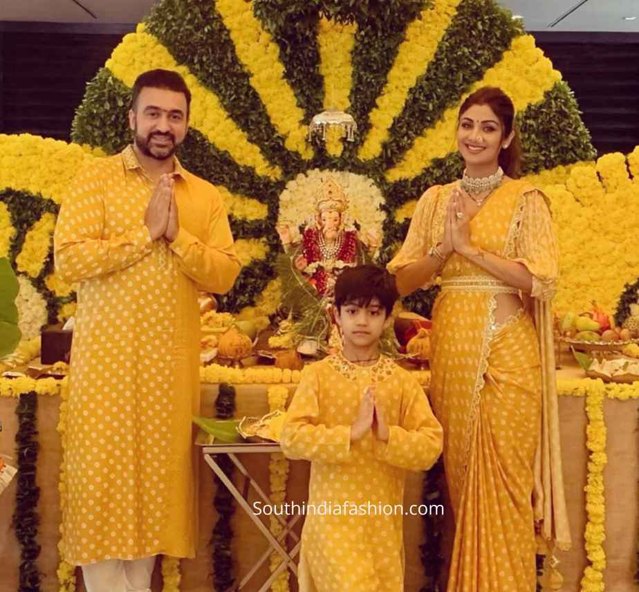 shilpa shetty yellow saree ganesh chaturthi (1)