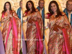 Shobhaa De paithani silk saree at ambani ganesh celebrations