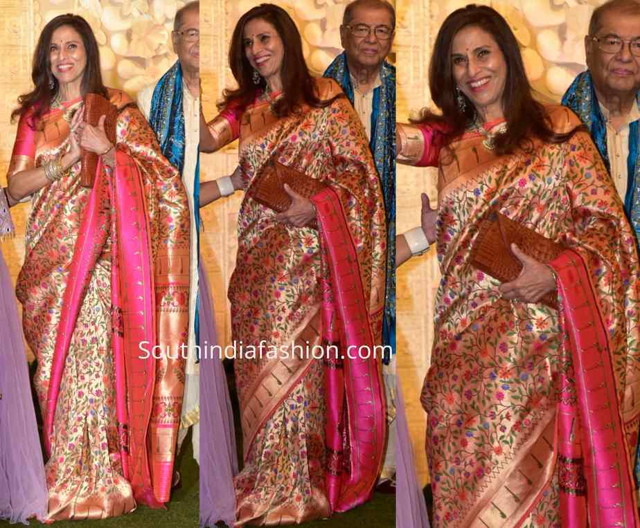 Shobhaa De paithani silk saree at ambani ganesh celebrations