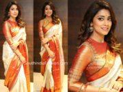 shriya saran white kanjeevaram saree at vrk silks launch