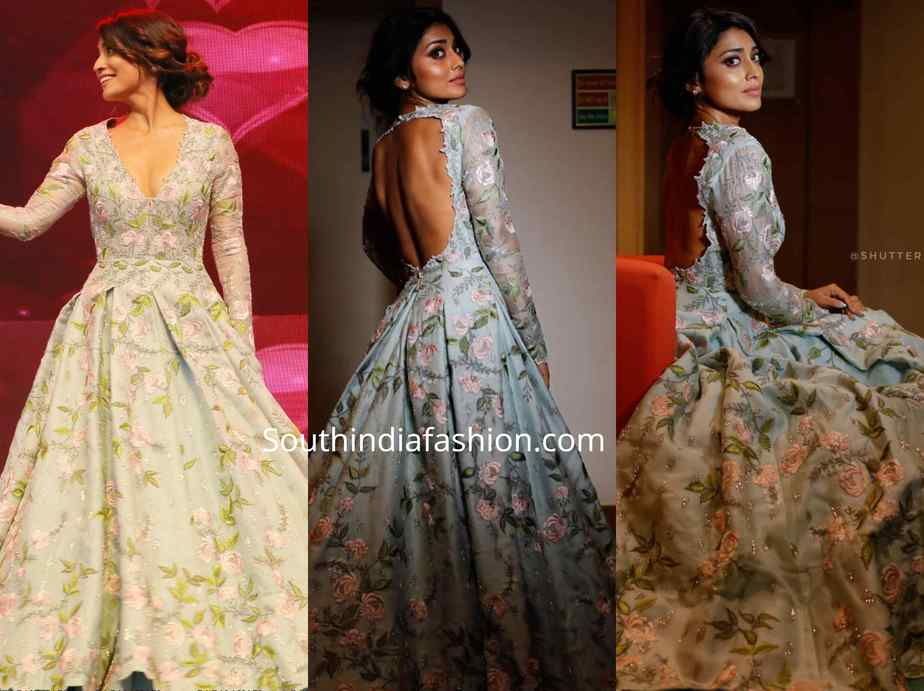 shriya saran gown at santosham awards 2019