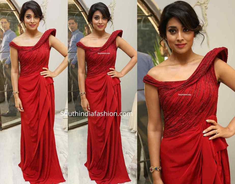 shriya saran red gaurav gupta gown