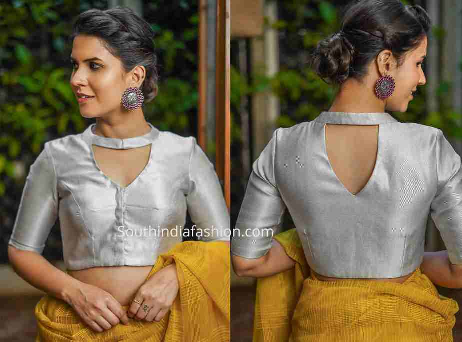 silver brocade saree blouse neck design