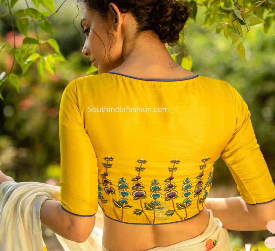 simple embroidery blouse designs