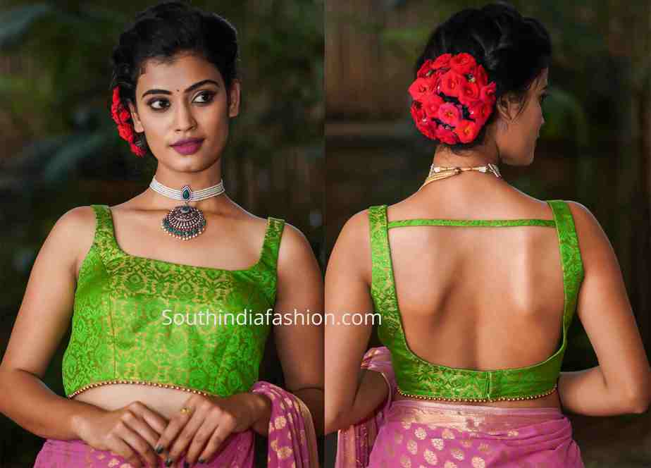 sleeveless brocade blouse designs