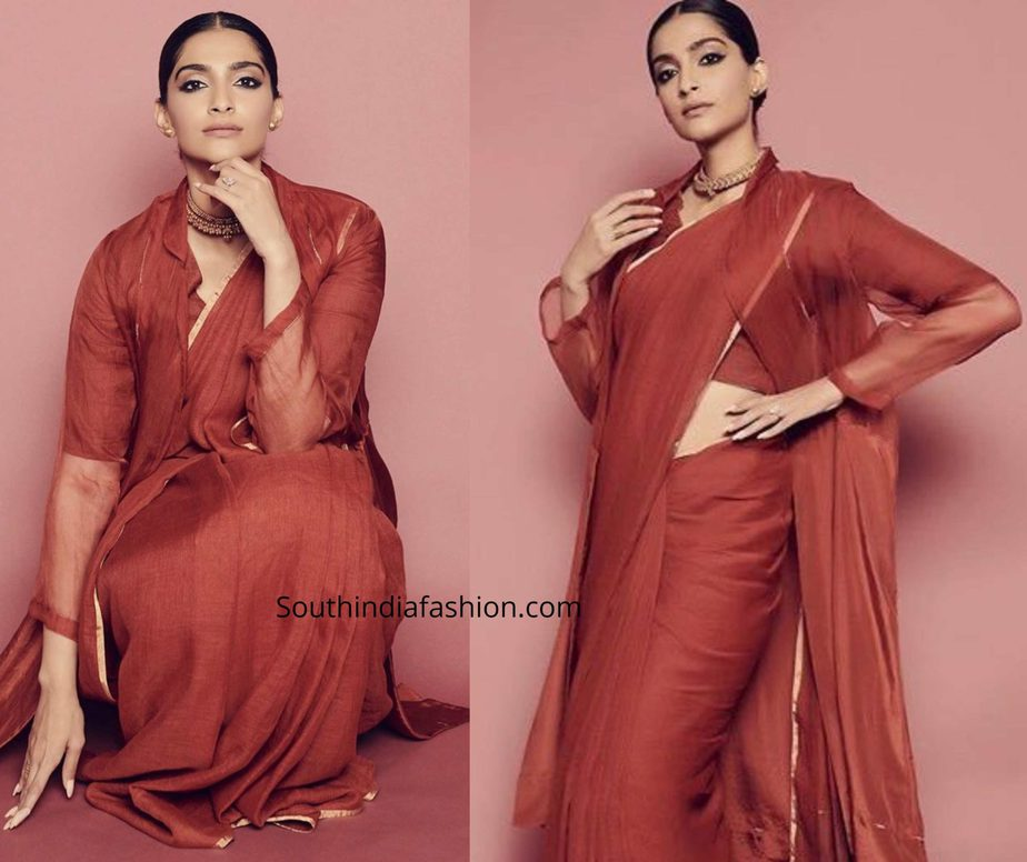 sonam kapoor anavila saree with jacket the zoya factor promotions (1)