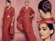 sonam kapoor anavila saree with jacket the zoya factor promotions (1)
