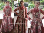 sonam kapoor maroon skirt and javcket at the zoya factor promotions