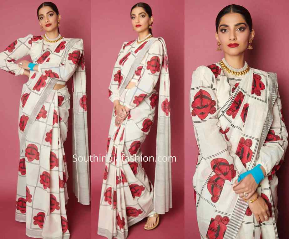 sonam kapoor printed saree with balloon sleeves blouse zoya factor promotions