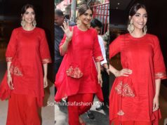 sonam kapoor red kurta set shani temple
