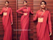 sonam kapoor red saree drape