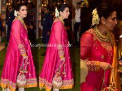 sonam mother sunita kapoor pink anarkali suit at ambani ganesh chaturthi