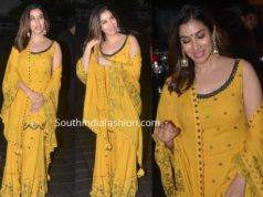 sophie choudry yellow sharara at arpita khan ganpati visarjan