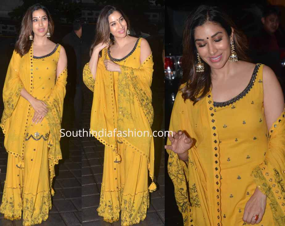 sophie choudry yellow sharara at arpita khan ganpati visarjan