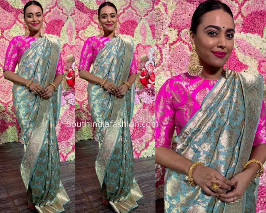 swara bhaskar in raw mango saree