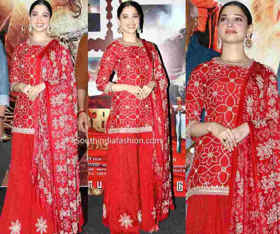 tamannaah bhatia red sharara suit sye raa narasimha reddy promotions