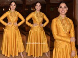tamannaah bhatia yellow dress sye raa narasimha reddy promotions