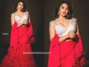 tejaswi madivada red ruffle saree at santosham awards 2019