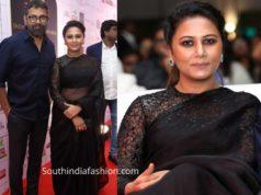 thabitha sukumar black saree at dadasaheb phalke awards 2019