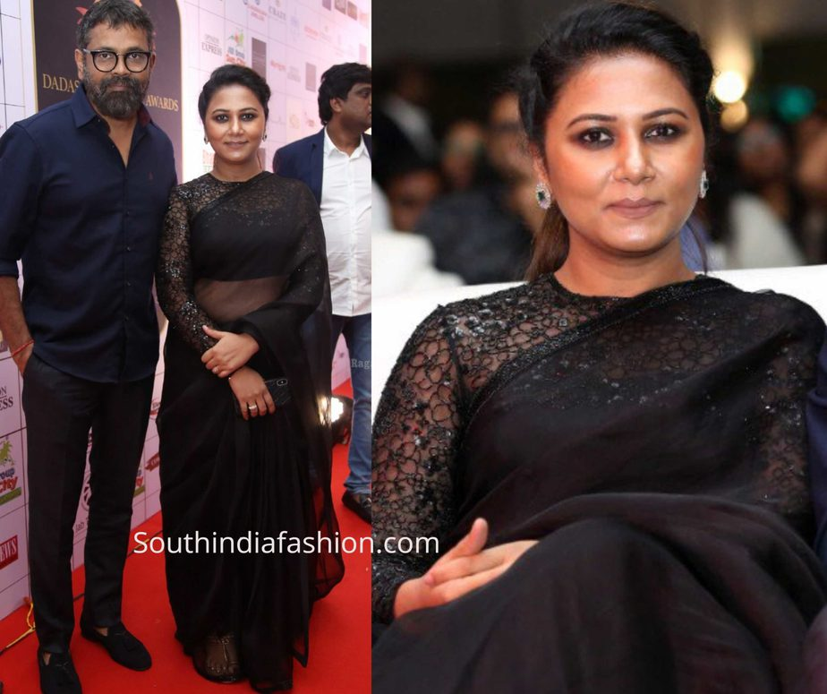 thabitha sukumar black saree at dadasaheb phalke awards 2019
