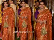 vidya balan orange banarasi silk saree by gaurnag shah at ambani ganesh puja 2019
