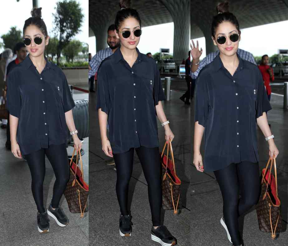 yami gautam airport louis vuitton bag