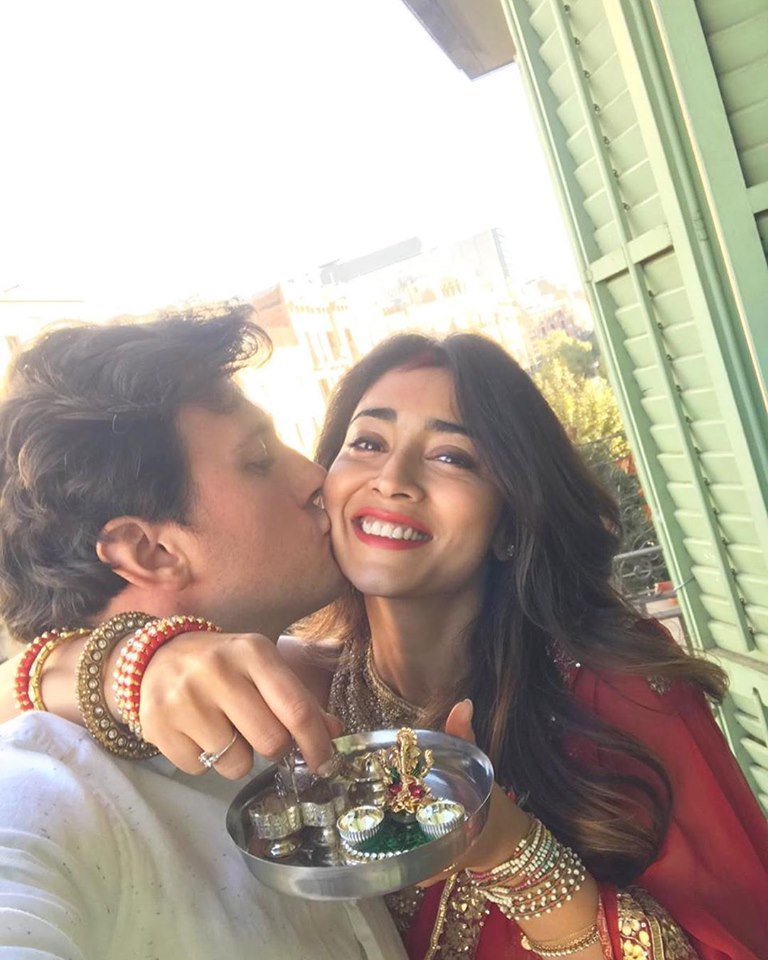 shriya saran karwa chauth clebrations with husband