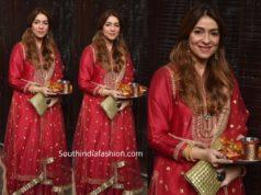 Bhavana Pandey red salwar suit karwa chauth 2019