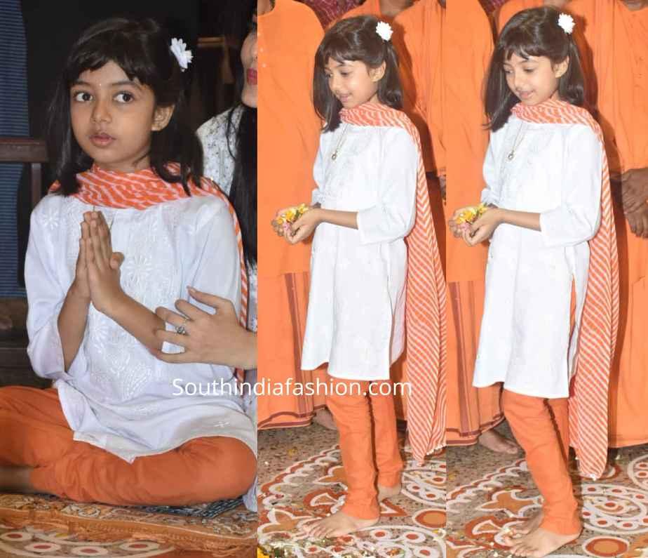 aaradhya bachchan white orange salwar kameez