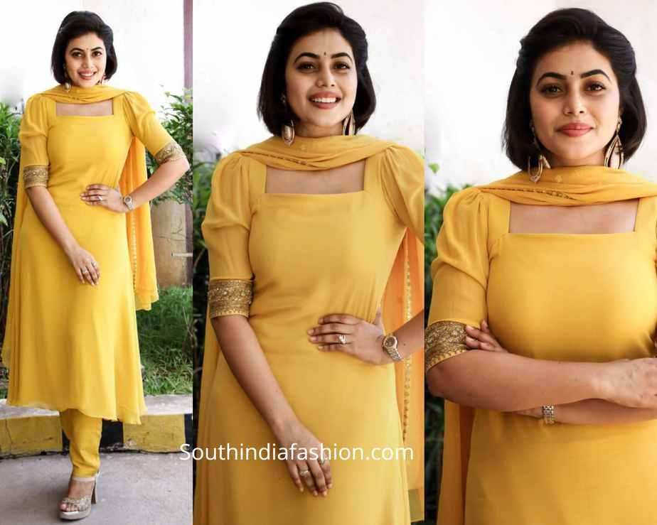 actress poorna yellow salwar kameez