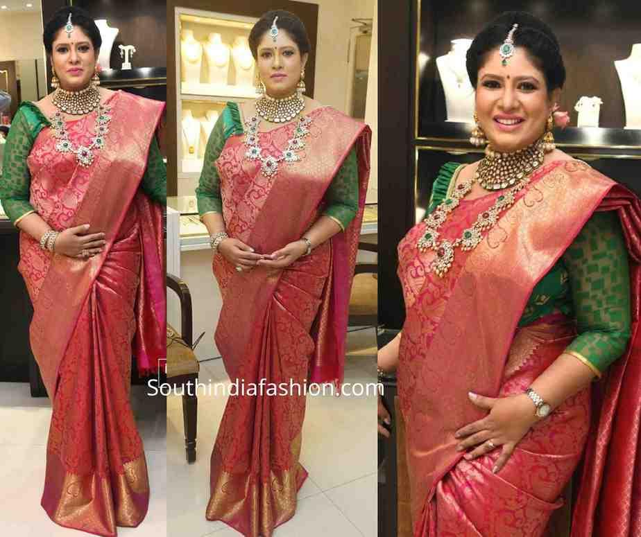 actress sanghavi pattu saree at tbz festive collection launch