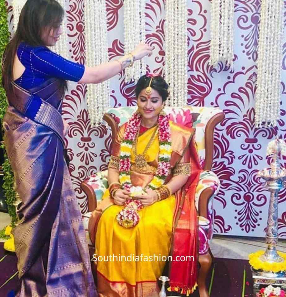 actress sneha prasanna seemantham photos yellow pattu saree