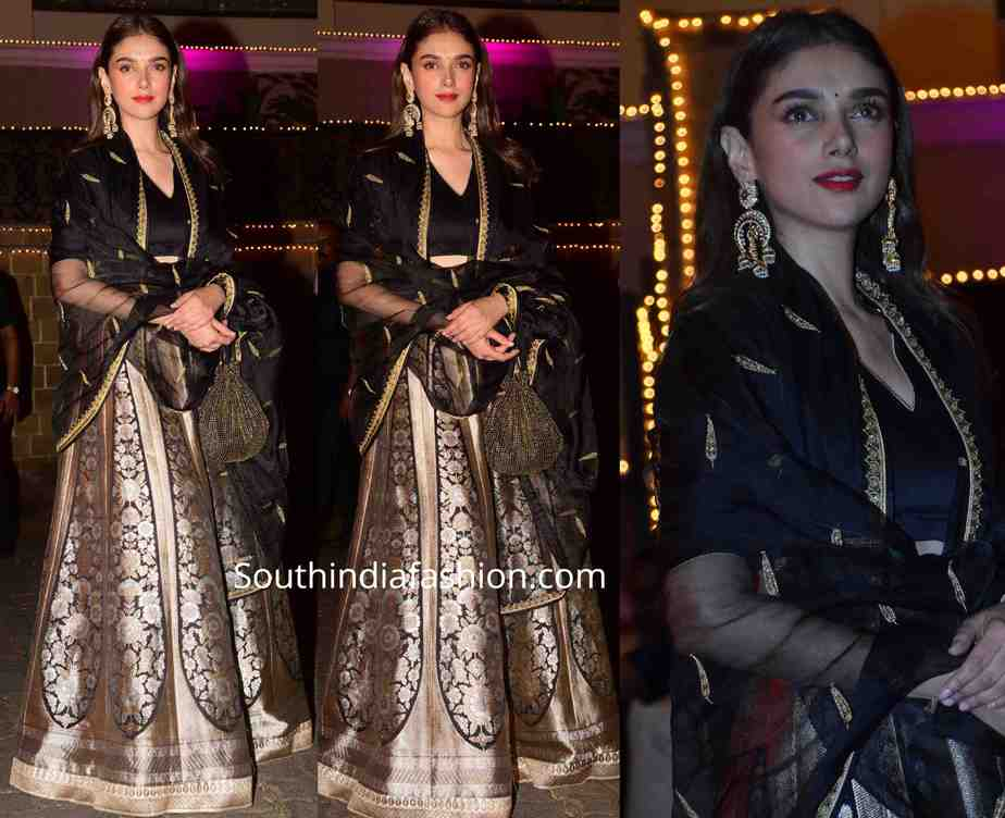 aditi rao hydari black raw mango lehenga at bachchan and sonam kapoor diwali party