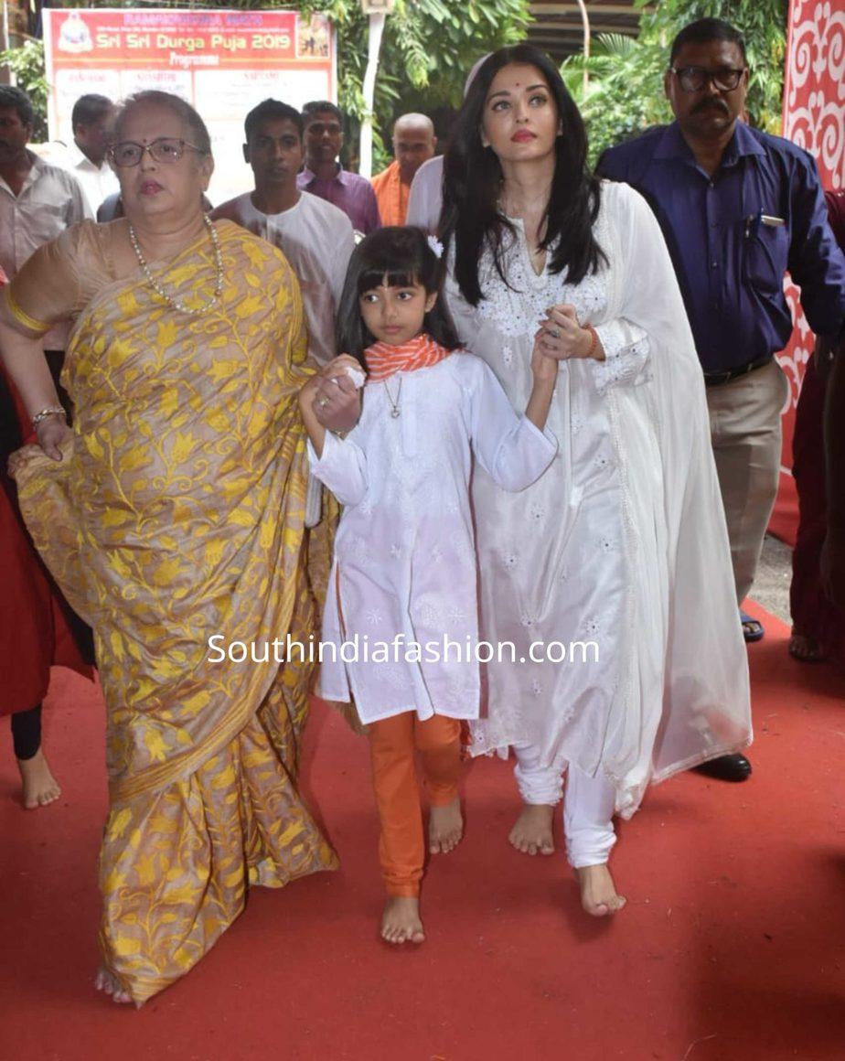 aishwarya aaradhya white salwar suits ramakrishna mission