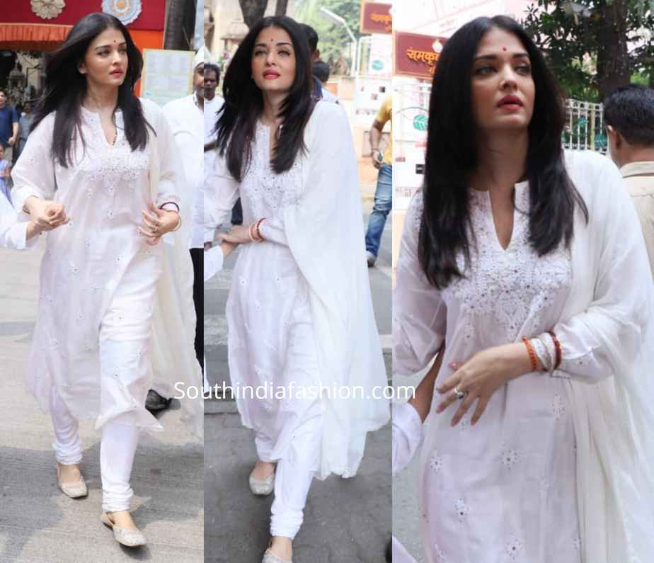 aishwarya bachchan white ochikankari salwar kameez