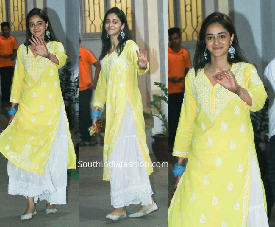 ananya pandey yellow white sharara suit