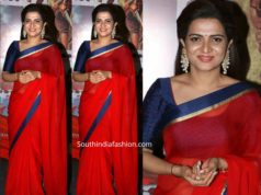 anchor divyadarshini red saree at sye raa press meet