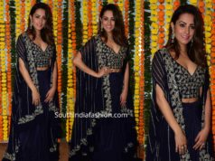 anita hassanandani blue lehenga at diwali party 2019