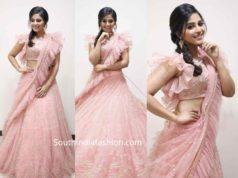 anjali pink ruffle lehenga
